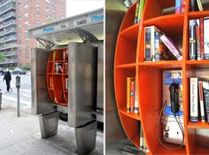 Phone booth free library