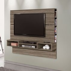 painel para tv - Pesquisa Google Muebles Rack Tv, Floating Tv Stand, Tv Panel, Hidden Tv, Tv Unit, Home Remodeling, Sweet Home, Projects To Try, Living Room