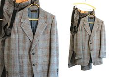 Vintage Vtg Vg 1960's 60's Houndstooth Pierre Cardin Suit Mad Men Business Two Piece Suit in Wool with Suspenders Men's Paris NYC Hip by foxandfawns on Etsy