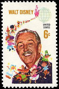 In September 1968, the United States Postal Authority issued its first Disney stamp, thereby commemorating Walter Elias Disney's (1901-1966) contributions to America and to the world.  Two Disney artists designed the stamp – Paul Wenzel crafted Walt's portrait and Bob Moore drew the background design of children of the world emerging from the Sleeping Beauty Castle.
