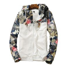 Women's Hooded Jackets 2019 Summer Causal windbreaker Women Basic Jackets Coats Sweater Zipper Lightweight Jackets Bomber Famale - White S Floral Bomber Jacket, Bomber Jacket Men, Hooded Jacket, Print Jacket, Bomber Jackets, Womens Windbreaker, Windbreaker Jacket, White Windbreaker, Smart Casual Jackets