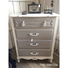 Beautiful Dresser Painted With Annie Sloan Chalk Paint In Pure White And Paris Greyold Painting Ideas Nursery