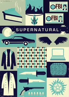 """Supernatural Poster by Risa Rodil Or, as I like to call it now, the """"good old days"""" :) Supernatural Poster, Supernatural Fandom, Supernatural Crafts, Supernatural Merchandise, Supernatural Drawings, Supernatural Bloopers, Supernatural Tattoo, Supernatural Imagines, Supernatural Wallpaper"""