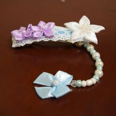 Pretty Fabric Flowers Barrette with Pearl Bow by AlicornDream