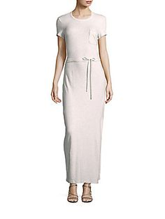 James Perse Short Sleeve Jersey Gown - Heather - Size