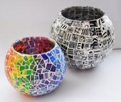Polymer clay mosaic tile candle holders