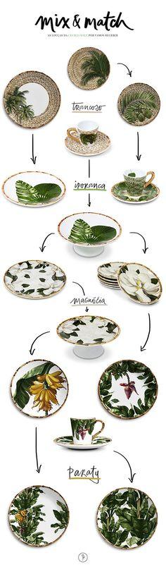 Mostramos 4 coleções de louças da Cecilia Dale com estampas de folhas e flores tropicais em tons de verde e o detalhe do bambu pintado em suas bordas para composições que amamos!