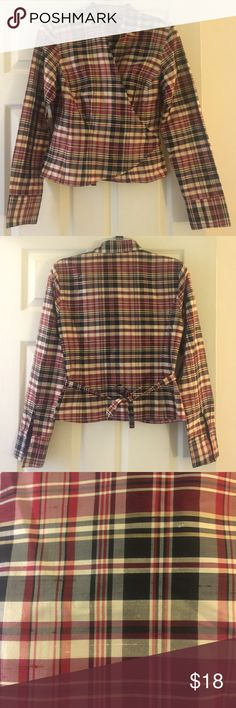 Silk wrap plaid Ann Taylor Longsleeve Ann Taylor blouse. Plaid material is 100% silk and has raw texture. (See 3rd picture). Shirt is in great condition but needs link/button bc sleeve is supposed to be folded into a cuff. Feel free to make a reasonable offer. Not sure what's reasonable? Check out the chart at the top of my closet ☺️ Ann Taylor Tops Blouses
