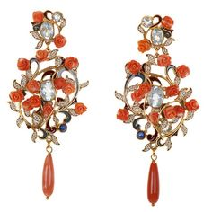 Carved coral earrings with blue topaz at LoveMySwag.com. #PercossiPapi,