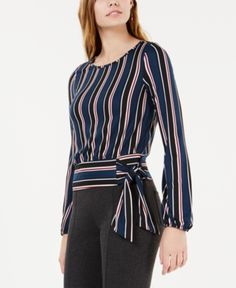 Best 12 Sashes Stripe O-Neck Lantern Sleeves Women's Blouses – SkillOfKing. Blouse Styles, Blouse Designs, Tie Waist Top, Jeans Dress, Dresses With Leggings, Blouses For Women, Fashion Dresses, Clothes, Navy Pink