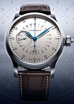 Longines - Twenty Four Hours Single Push Piece Chronograph. The brand has replicated the lines of one of its pilot watch dating from the 1950s.
