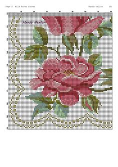 Cross Stitch Borders, Cross Stitch Rose, Cross Stitch Animals, Cross Stitch Patterns, Oil Painting Flowers, Vintage Roses, Hand Embroidery, Doll Clothes, Diy And Crafts