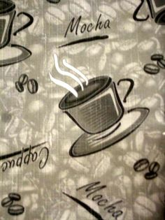 Charming This Coffee Themed Tablecloth Features The Words Cappuccino, Mocha, Cafe  And Coffee Beans On