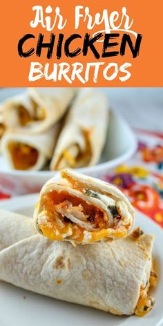 Whenever I'm at a lack for what to make for dinner, my air fryer is my go-to choice. These air fryer chicken burritos are so easy to make! And if you don't have chicken - you can swap another meat, add veggies or just have them with cheese & salsa! Air Fryer Recipes Breakfast, Air Fryer Recipes Easy, Lunch Recipes, Easy Dinner Recipes, Mexican Food Recipes, Oven Recipes, Mexican Desserts, Freezer Recipes, Delicious Recipes