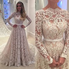 197.00$  Buy now - http://vifcy.justgood.pw/vig/item.php?t=gp9pxrw2432 - New Long Sleeves 2017 Lace Wedding Dress Bridal Gowns with Belt