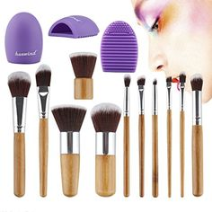 Huewind 11pcs Synthetic Kabuki Makeup Brush Set Cosmetics Foundation Blending Blush Eyeliner Face Powder Brush Makeup Brush Kit ** Click image to review more details.