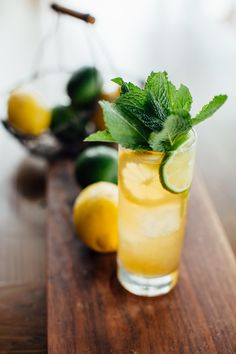 Planning some warm-weather entertaining? This porch punch will become a perennial party favorite, with fresh mint, Earl Grey tea, orange flower water, lime and Bourbon. Photo by Justen Clay. Iced Tea Cocktails, Easter Cocktails, Craft Cocktails, Cocktail Drinks, Cocktail Recipes, Summer Drinks, Fun Drinks, Beverages, Party Drinks