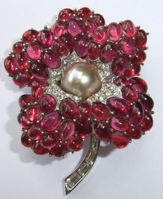 Fine RARE Vintage Marcel Boucher Ruby Crystal Rhinestone Pearl Flower Brooch Sold for $ 578