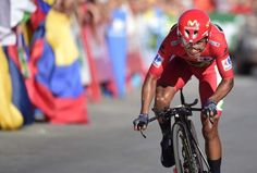 Nairo Quintana kept hold of his red jersey, after stage 19 TT, but lost time to Chris Froome. Vuelta 2016.