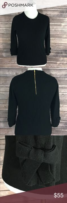 Kate Spade Sweater Black Wool Cashmere Blend Bow Measurements: (in inches) - Underarm to underarm: 18.5 - Length: 22.5 Good, gently used condition kate spade Sweaters Crew & Scoop Necks