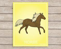 Brown Horse Art Print Farm Animals Wall Decor by JulieAnnStudios, $14.00