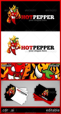 Buy Hot Pepper Logo by atomics_saturday on GraphicRiver. Spicy hot pepper with flame for your cullinary business, Resizable Vector EPS , Ai, CDR Color customizable Font used . Indian Food Menu, Travel Guide App, Happy Hour Drinks, Food Cartoon, Drinks Logo, Logo Food, Animal Logo, Graphic Design Posters, Stuffed Hot Peppers