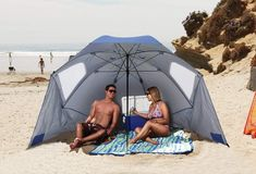 A beach umbrella, sun tent, rain shelter, all in one, the Portable Sun and Weather Shelter gives instant portable protection regardless of your activity.