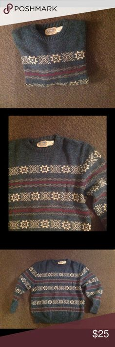 """Men's Wool Teal Fair Isle Nordic Sweater L Vintage Very nice men's vintage sweater. Teal Blueish fair isle design. Made of 85% wool 15% nylon in size Large. Great condition. Chest 48"""" Length 28"""" Color may be a slightly different shade than the photos. Vintage Sweaters Crewneck"""