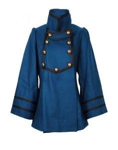 Dahlia Petrol Blue Military Coat, Keywords:Designer Military Jackets, Designer Coats, Colorful Military Jackets,Designer Winter Coats, Colorful Winter Jackets