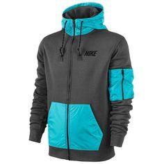 Nike Hybrid Full Zip Hoodie - Men's - Casual - Clothing - Medium Olive/Black