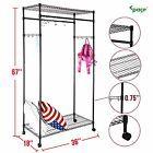 2-Tier Closet Organizer Rolling Clothes Garment Rack Hanger Wire Shelf Wardrobe