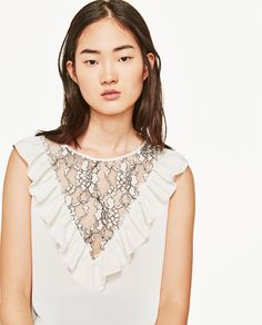 FRILLED BLOUSE WITH CONTRASTING LACE-View All-TOPS-WOMAN | ZARA United States