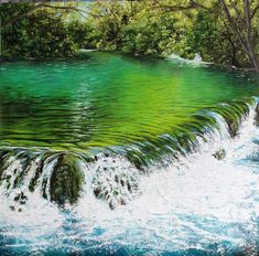"""Hear the fizz as these vibrant Peridot waters cascade into a deeper pool of Sapphire. This is a 12x12"""" square original oil painting by UK artist Ellisa Hague. Price includes VAT and standard UK P&P. Please visit www.EllisaHagueOriginal.com for more information."""