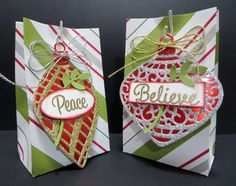 Delicate Ornament Gift Bags created by Lynn Gauthier using Stampin' Up's Delicate Ornament Thinlits Dies. The recipient gets a treat in their gift bag and an ornament for their Christmas tree or a gift tag for a Christmas present.  Instructions for gift bags at http://lynnslocker.blogspot.com/