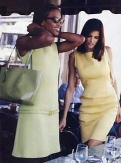 "Stephanie Seymour & Naomi Campbell""Working The Day Shift""Vogue US, March 1996Photographer : Pamela Hanson"