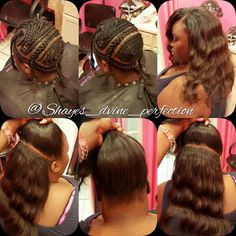 2 Part Vixen Sew In (Half Up Half Down) | Arlington Stylist   IG: Shayes_dvine_perfection FB: Shayes D'vine Perfection Book online at; ➡Www.styleseat.com/shalandawilliams2 Sew In Braid Pattern, Braid Patterns, Sew In Braids, Braids With Weave, Weave Braid, Kinky Curly Hair, Curly Hair Styles, Natural Hair Styles, Sew In Hairstyles