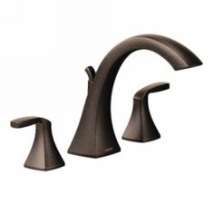 Moen Voss Oil Rubbed Bronze Residential Deck Mount Roman Bathtub Faucet at Lowe's. Accent your tub with the confident style and crisp silhouette of the Moen Voss two-handle high arc Roman tub faucet. Designed to meet Americans with Roman Tub Faucets, Bathroom Faucets, Bathroom Countertops, Master Bathroom, Bathrooms, Shower Faucet, Shower Tub, Shower Fixtures, Oil Rubbed Bronze Faucet