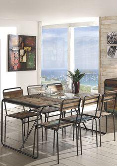 Table & chaises VINTAGE en bois de bateau recyclé / de chez Cocktail Scandinave mobilier & décoration d'intérieur