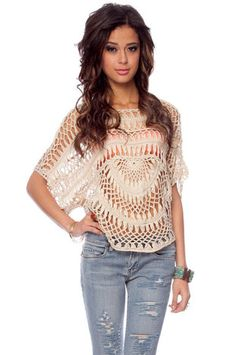 Such a sute crocheted top.  Could be made longer to be a swim suit coverup?