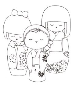 Kokeshi dolls coloring pages, japanese dolls coloring pages Adult Coloring Pages, Colouring Pages, Coloring Books, Hand Embroidery, Embroidery Designs, Asian Quilts, Asian Doll, Kokeshi Dolls, Matryoshka Doll