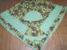 Camo Baby Blanket Set with Two Matching Hats  by BeyondCrochet