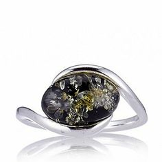 Amber Solitaire Ring Sterling Silver - Green