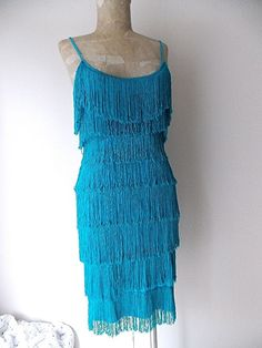 Fringe Flapper Dress Size Small Mini Vintage 80s Cocktail Party Costume Blue #Unknown