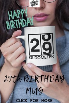 This oldometer mug is great as a funny 29th birthday gift. It's perfect for a friend or a coworker and it's inexpensive and cute, just right for celebrating 29 years. #funny29thbirthday #29yearsold #29birthdaymug #mug29birthday #funny29birthdaycoffeemug