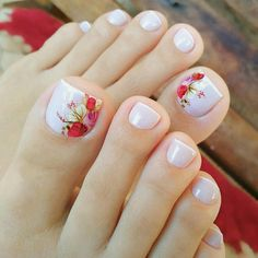 Toe Nail Designs give certain elegance to any woman's feet. Toe nail designs are beautiful and they complete the fashion look on every pedicure. Pretty Toe Nails, Cute Toe Nails, My Nails, Cute Spring Nails, Summer Toe Nails, Toe Nail Color, Toe Nail Art, Nail Colors, Acrylic Nails