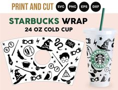 Starbucks Cup Design, Custom Starbucks Cup, Starbucks Venti, Starbucks Crafts, Disney Starbucks, Harry Potter Free, Vinyl Gifts, How To Make Diy, Cricut Creations