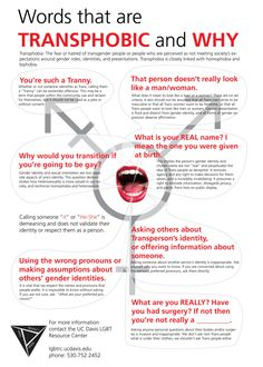 Words that are transphobic and why poster. #gsm #equality #feminism #lgbtq