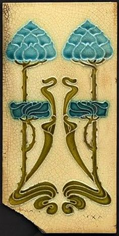 Very Rare Art Nouveau Majolica Tile, J H Barratt c1903 £39