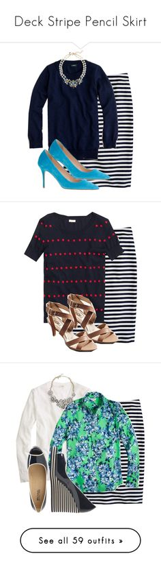 """""""Deck Stripe Pencil Skirt"""" by my4boys ❤ liked on Polyvore featuring J.Crew, LOFT, Old Navy, Isaac Mizrahi, Tory Burch, Forever 21, Tretorn, Kate Spade, Reed Krakoff and Kenneth Jay Lane"""