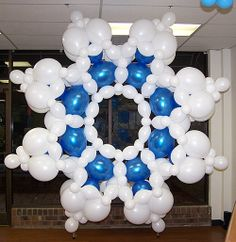 9ft snowflake made from balloons.  Original design by Lisa Swiger of Blooming Balloons in Raleigh, NC.